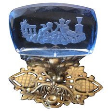 Victorian Cherub Blue Glass Embossed Topper For Purse