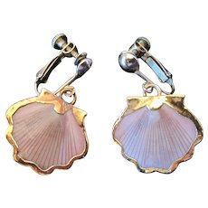 Pair of Sea Shell Screwback Earrings w/14K Yellow Gold Border