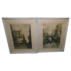 Vintage - Pair of Claude Dorval Framed Lithographs