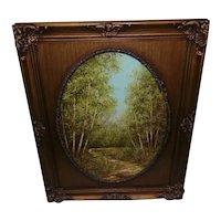 Vintage Oil on Canvas - Landscape w/Trees & Creek - Framed