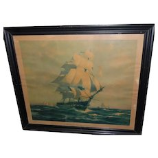 """Antique 1927 """"Old Ironsides"""" Gordon Grant Watercolor Painting Clipper Ship Lithograph w/Frame"""