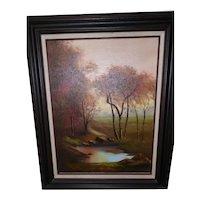 Vintage Oil on Canvas by Mary Yardas - Fall Landscape w/Frame