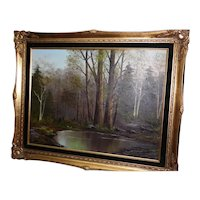 Beautiful Forest Landscape Oil Painting by Mary Yardas w/Gold Gilt Frame