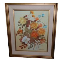 Framed Floral Arrangement Oil on Canvas by Mary Yardas