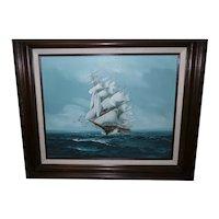Framed Oil on Canvas of Sailing Ships Signed Jackson