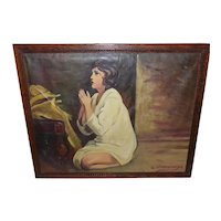 Framed Oil on Canvas Early 1900s Signed - Woman Praying w/Oak Frame
