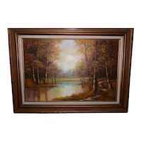 Large Framed Oil on Canvas of a Beautiful Fall Landscape by Mary Yardas