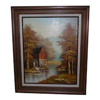 Framed Oil on Canvas - Landscape w/Barn & Wheel House - Signed Greenwood