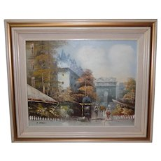 Framed P. Rambert Signed Paris Street Scene Oil Painting
