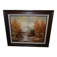 Framed Oil on Canvas Fall/Mountain Landscape Signed K. Ray