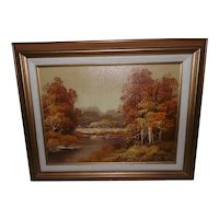 Framed Fall Landscape Oil Painting Signed Adams