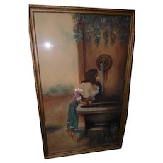 Antique Original Watercolor of Peasant Girl Drinking From Fountain - Ornate Gold Gilted Frame