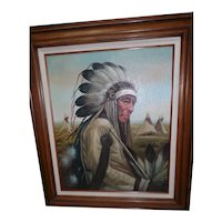 """Framed Oil Painting """"The Chief"""" - By Kenneth Su"""