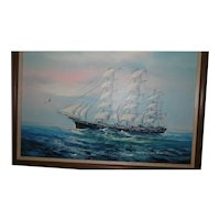 Large Framed Oil Painting of Ship/Seascape Signed K. Haskell