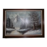 Beautiful Framed Oil Painting Winterscene Landscape by B. Chipton