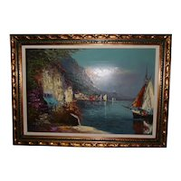 Stunning Framed Oil on Canvas Mediterranean View by Alfredo Caldini
