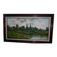 Framed Oil on Canvas Marsh Landscape Signed Lawrence