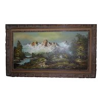 Framed Oil Painting Snowcapped Mtns/Landscape by G. Whitman