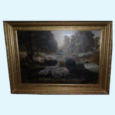 Antique Early 1800s Framed German Landscape w/Woman & Sheep