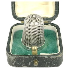 Cased Victorian Silver Thimble