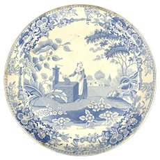 Early 19th Century Pearlware Girl at the Well Compote