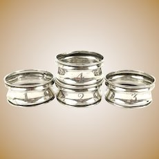 Set of Four Sterling Silver Numbered Napkin Rings