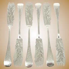 Victorian Set of Silver Plated Melon Forks