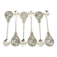 Rare Set of Silver Plated Cockerel Cruet Spoons
