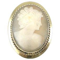 Vintage Silver Gilt Cameo Brooch