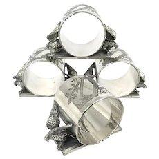 Set of Meriden Silver Plated Dove Napkin Rings