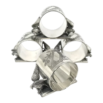 Set of Meriden Silver Plated Dove Napkin Rings