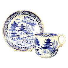 Grainger & Co Worcester Blue and White Cup and Saucer