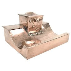 Arts and Crafts Copper Inkstand Inkwell