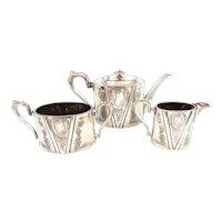 Antique Silver Plated Floral Tea Set