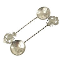 Pair of Marie Theresia Coin Silver Spoons