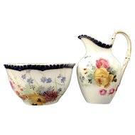 Antique Royal Worcester Floral Fruit Set