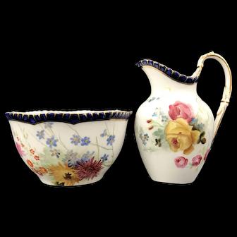 Antique Royal Worcester Floral Fruit Set