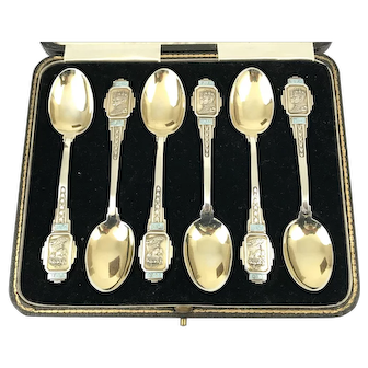 Cased Sterling Silver Gilt and Enamel Spoons