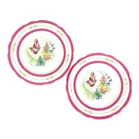 Pair of Victorian Hand Enameled Butterfly Plates