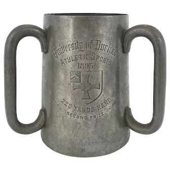 Victorian University of Durham Pewter and Glass Tyg