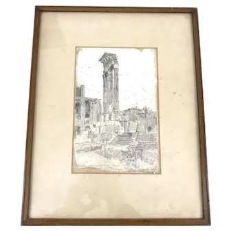Framed Graphite and Watercolor Roman Colosseum, Guiseppe Mentessi