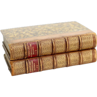 Set of 2 Volumes, 1812, Quintilian Opera, Latin Books, Old library, Home Decor, Photography Prop, Old Books Collectible Books