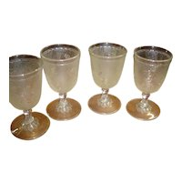 """EAPG Set of 4 """"Rose in Snow"""" Footed Tumblers"""