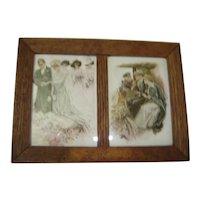 Oak Frame 2 Harrison Fisher Prints:  The Wedding and The Honeymoon