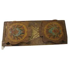 Antique Pyro-Art Pyrography ~ Folding Book Holder ~ Painted Design