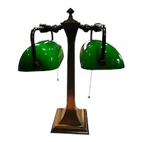 Double Banker's Desk Lamp Green Cased Glass Shades
