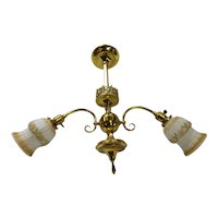 Ornate Brass 2-Arm Light Fixture with Shades ~ Embossed Bonnet Shades
