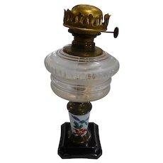 Composite Peg Lamp No. 2 Kerosene Burner with Blue Porcelain Stem with Floral Design