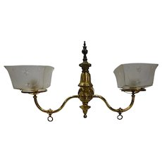 2-Arm Brass Gas Converted to Electric Wall Sconce with Shades