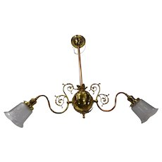 2 Arm Ornate Brass Light Fixture with Etched Shades